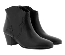 Dicker Mid-Heel Ankle Boot Leather Black Schuhe