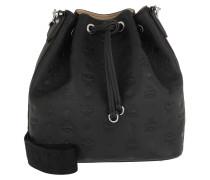 Beuteltasche Essential Monogrammed Leather Drawstring Small Black schwarz