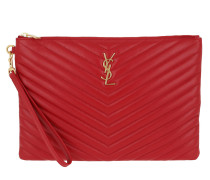 Matelassé Monogramme Pochette Leather Rosso Pochette