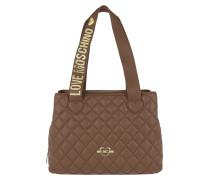 Borsa Nappa Pu Double Handled Handbag Cammello Tote
