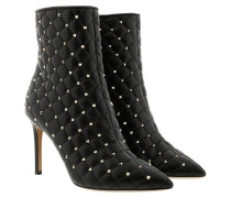 Spike Studs Ankle Boots Leather Black Schuhe