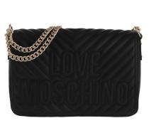 Quilted Logo Shoulder Bag Black Satchel Bag