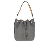 Beuteltasche Essential Monogrammed Leather Drawstring Small Charcoal grau
