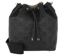 Beuteltasche Essential Monogrammed Leather Drawstring Medium Black schwarz