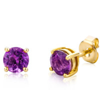 """Ohrringe Earrings Violet Amethyst """"The Creative One"""" 14KT Yellow Gold"""