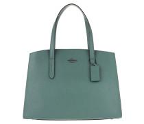 Tote Polished Pebble Leather Charlie Handle Bag Dark Turquoise grün
