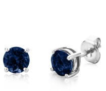 """Ohrringe Earrings Blue Sapphire """"The Wise One"""" 14KT White Gold"""