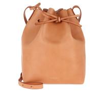 Beuteltasche Bucket Bag Leather Caramello/Raw cognac