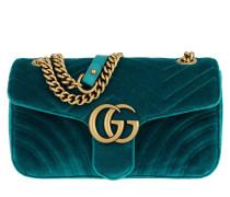GG Marmont Shoulder Bag Velvet Petrol Tasche