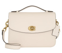 Satchel Bag Polished Pebbled Leather Cassie Crossbody Chalk