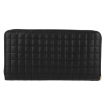 Portemonnaie C Charm Zipped Wallet Large Quilted Leather Black schwarz