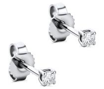 Ohrringe 0.12ct Diamond Stud Solitaire Earring 14KT White Gold