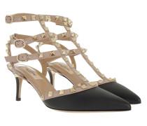 Rockstud Decollete Pump Ankle Strap Nero/Poudre Sandalen rosa