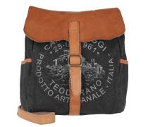 Shoulder Crossbody Bag Textil/Cow Blu+Naturale+St.Grigia Tasche