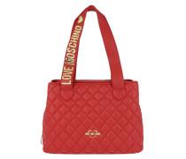 Borsa Nappa Pu Double Handled Handbag Rosso Tote