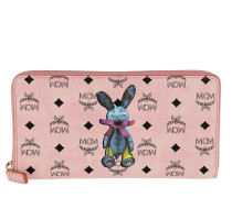 Rabbit Zippered Wallet Large Soft Pink