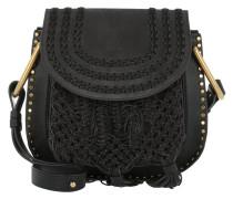 Small Hudson Braids & Tassels Leather Crossbody Bag Black Tasche