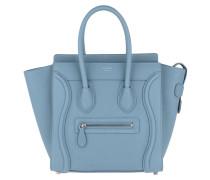 Micro Luggage Tote Leather Medium Blue Tote