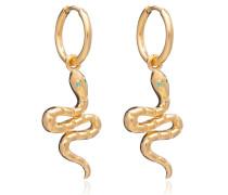 Ohrringe Emerald Snake Huggie Hoop Earrings Yellow Gold