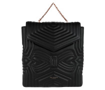 Coletee Quilted Bow Leather Backpack Black Rucksack