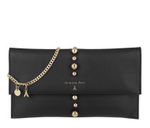Flap Over Leather Clutch Nero Clutch