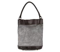 Monospalla Media Bucket Bag Metal Grigio Beuteltasche braun