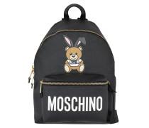 Playboy Bear Zipped Front Pocket Backpack Black Rucksack