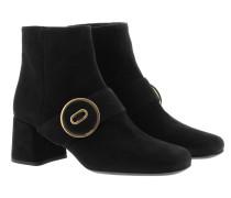 Calzature Donna Camoscio Booties Nero Schuhe