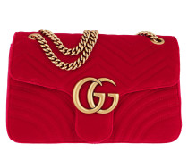 GG Marmont Medium Velvet Shoulder Bag Hibiscus Red Tasche