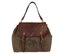 Shoulder Bag Textile Cow V.Militare T/Cognac+St.Nera braun