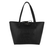 Shopping Bag Slogan Print Embossed Black/White Tote
