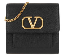 Umhängetasche V Logo Crossbody Bag Small Leather Black
