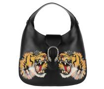 Dionysus Hobo Bag Leather Tiger Patch Black Hobo Bag schwarz