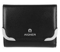 Amber Leather Wallet Black Portemonnaie
