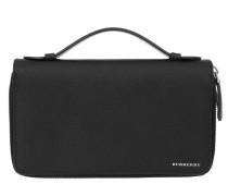 Travel Wallet Leather Black Portemonnaie