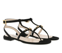 Buckle Logo Sandals Leather Black Sandalen
