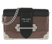 b9bcce16e9c97 Umhängetasche Cahier Shoulder Bag Metallic Leather Cammeo Nero bunt. Prada