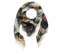 Tiger Face Print Wool Silk Scarf Ivory Schal