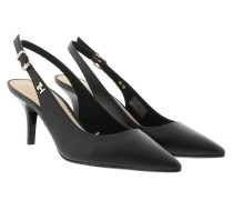 Pumps Feminine Leather Mid Sling Black