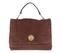 Liya Suede Handbag Marron Glace Satchel Bag