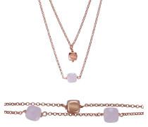 Halskette Jewelry Set Pink Stones Rose