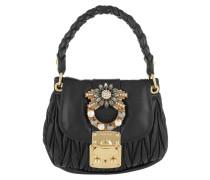 Matelassé Shoulder Bag Jeweled Buckle Leather Black Tasche
