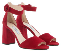 Open Toe Heeled Sandals Leather Rosso Sandalen