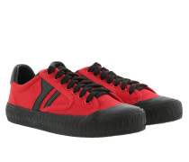 Lace Up Sneaker Plimsole Canvas Red/Black Sneakers