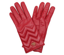 GG Marmont Chevron Gloves Red Handschuhe