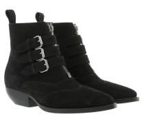 Buckle Ankle Boots Leather Black Schuhe