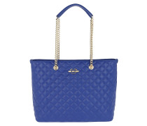 Borsa Nappa Pu Long Handle Chain Shopping Bag Blu