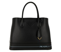 Two Tone Handle Tote Leather Black Tote