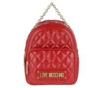 Rucksack Quilted Nappa Pu Small Backpack Rosso rot
