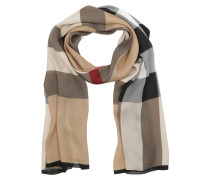 Ultra Washed Mega Satin Checked Silk Scarf Camel Schal